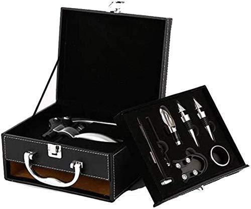 WHZG Conjunto de abrelatas de vino, collero de decanter Conejo sacacorchos de botella de vino tinto, tapón de aleación de botellas de vino, anillo de goteo con caja de madera - Termómetro de 8 piezas