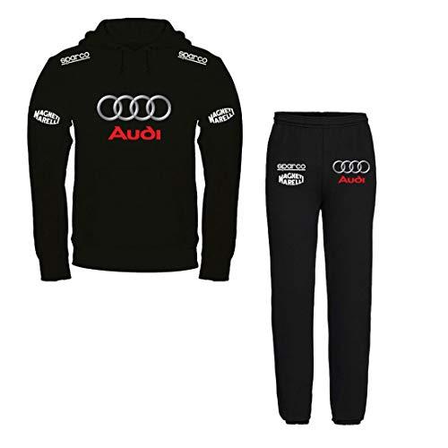 Print & Design Tuta Felpata Audi Personalizzata - Felpa Nera con Cappuccio + Pantalone (XL)