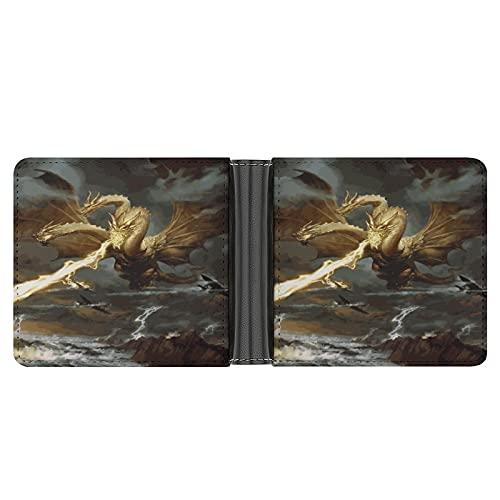 Godzilla Pochette portefeuille en cuir PU pour cartes de crédit, argent, etc. Motif Ghidorah