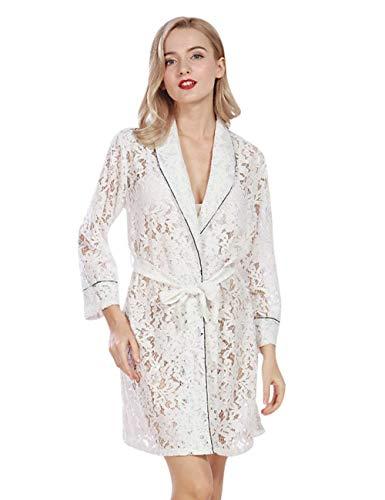 Dames Badjas Zomer Kant Nachtjapon Mooie Vintage Chic Effen Kleur Dressing Jurk 3/4 Mouw V-hals Hollow Out Kimono pyjama met Riem