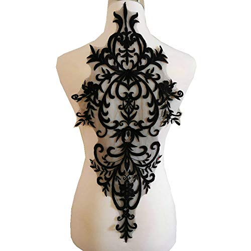High Grade Wedding Dress Embroidery Lace with Multi-Color Lace Applique/Rayon Applique Accessories (Black)
