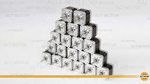 ACT MOTOR GmbH 20PCS 17HS4417 Nema17 Stepper Motor Bipolar 40mm Body 40Ncm Torque 4Wire 300mm Cable 1.7A with 1.8° 2.55V for Robot CNC Schrittmotor 3D Printer