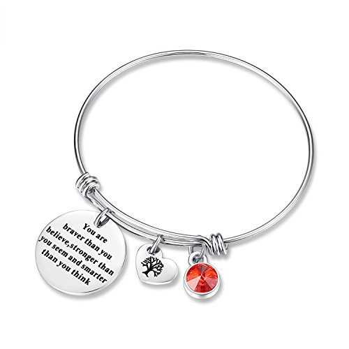 January Birthstone You Are Braver Than You Believe Think Charm Bracelet Jewelry with Heart Tree of Life, Birthday Gifts for her mom sister mother daughter friendship wife christmas day gifts (Garnet)