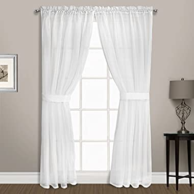 United Curtain Summit Sheer Voile Panel Pair with Tiebacks, 74  x 72 , White