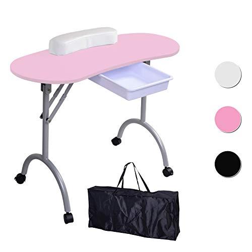 Beltom Mesa para manicura Plegable, con cajón y Bolsa de Transporte - 9,5 KG - 98 x 44 x 77 cm - Rosa