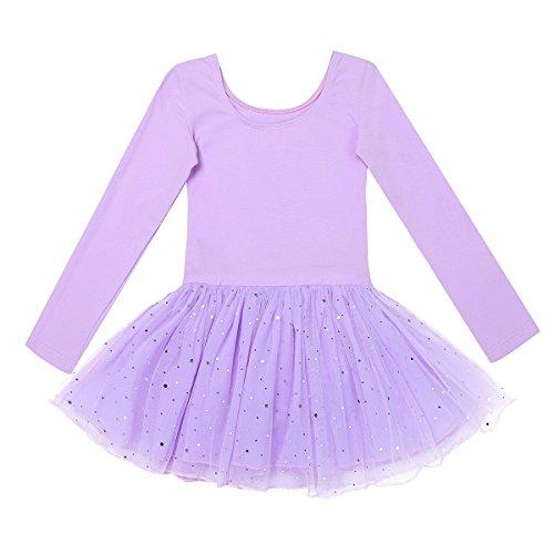 Freebily Kinder Ballettanzug Langarm Trikot Tanzbody mit Röckchen/Tüllrock Mädchen Ballett Kleider Tanzkleid Ballettkleid 98-158 Lavender 104/4 Jahre