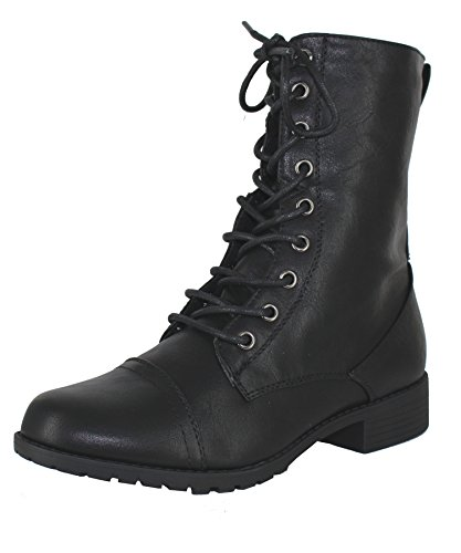 Forever Link Womens Round Toe Military Lace up Knit Ankle Cuff Low Heel Combat Boots (6.5 M US, Black)