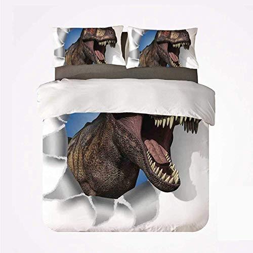 Popun Juego de Funda nórdica Jurassic Decor Nice 3 Juegos de Cama, un tiranosaurio Rex asoma la Cabeza a través de la Pared de Papel Dinosaurios extintos Grandes para Sala de Estar