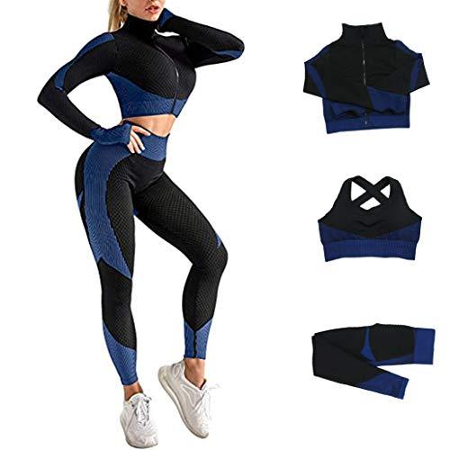 Veriliss 3 Piezas Mujer Yoga Traje Entrenamiento Para, Gym Mallas de Yoga Sin Costuras y Sujetador Deportivo Elástico Ropa de Gimnasio (NegroAzul, M)