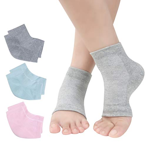 Vented Moisturizing Gel Heel Socks, 3 Pairs Toeless Spa Sock for Foot Care Treatment, Cracked Heels, Dry Feet, Foot Calluses (Grey, Green, Pink)