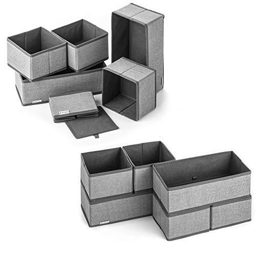 Navaris 12x Caja de Tela para almacenaje - Set de 12x Cubo Plegable Organizador de cajones - Cajas para Almacenamiento de Ropa Juguetes Zapatos - Gris