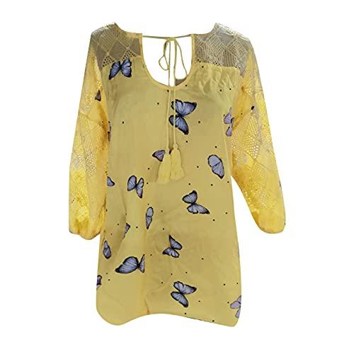 YANFANG Vestido Mujer Elegante,Top De Manga Corta con Cordones Y Estampado Mariposas para Mujer,Blusa Vestir,Top Lencero Mujer,Camisa Vaquera Encaje,Yellow,XL