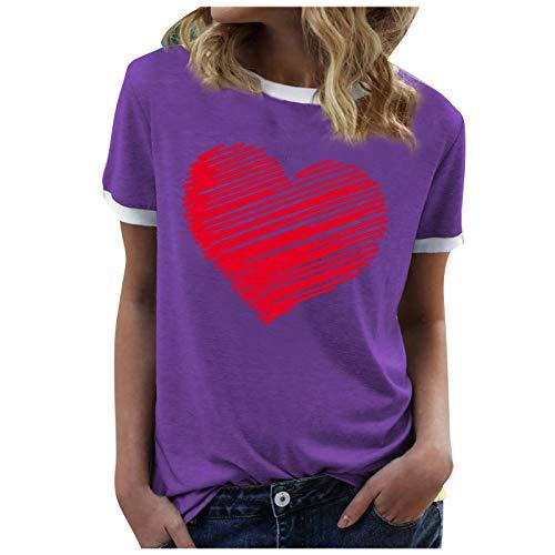 YANFANG Blusa De Manga Corta con Cuello Redondo Y Estampado CorazóN Informal Moda para Mujer,Basica Camiseta Suelto Verano T-Shirt,Camiseta Tops Casual Fiesta T-Shirt Original tee