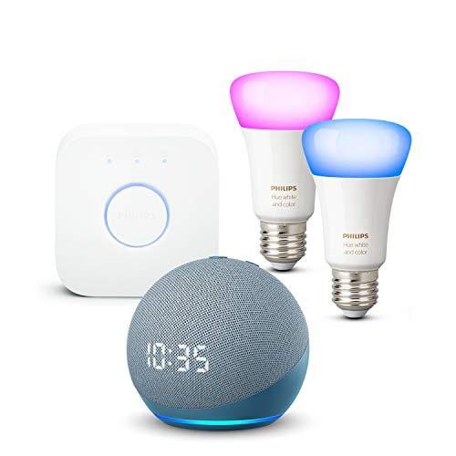 Nouvel Echo Dot (4e génération) avec horloge, Bleu-gris + Philips Hue Kit de démarrage 2 Ampoules Color (E27), Fonctionne avec Alexa