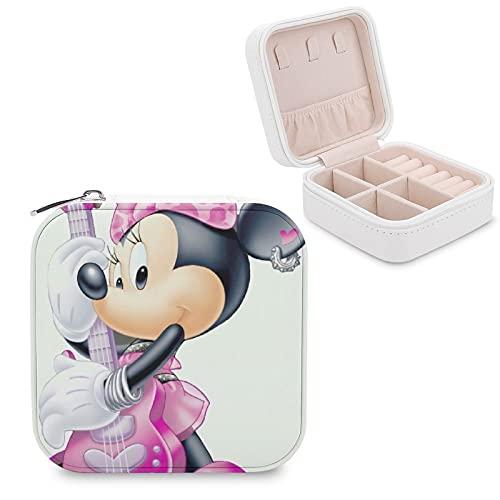 Caja de joyería de Mickey Mouse Minnie de piel sintética, pequeña y portátil, para guardar joyas, collares, pendientes, anillos, joyerías, para niñas y mujeres
