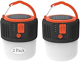 Camping Lantern Solar Rechargeable, LED Tent Light Ultra Bright for Camping,2 Pack