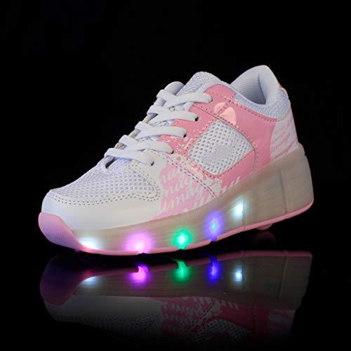 LWH Heelys,LED-Leuchten,Multifunktions-Rollschuhe,Sportschuhe Für Erwachsene/Studenten,Unsichtbare Räder,Einzel-/Doppelräder