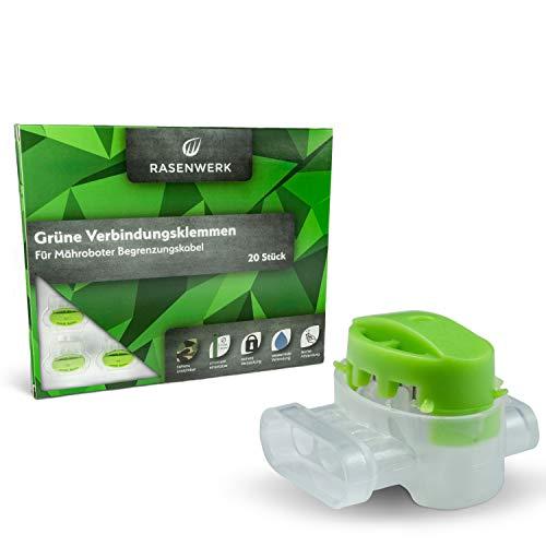 RASENWERK® - 20 Stück - Grüne Verbindungsklemmen Kabelverbinder Begrenzungskabel Mähroboter Rasenroboter - unsichtbar im Gras – wasserdicht korrosionsbeständig langlebig
