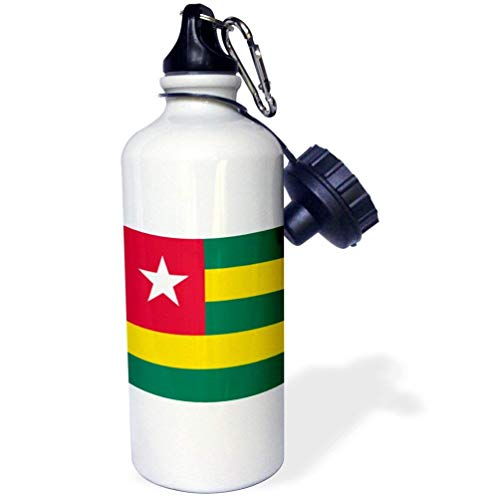 Vlag Van Togo Groene En Gele Strepen Rood Vierkant Met Witte Ster Togolese Republiek West-Afrika Wit Grappige RVS Sport Waterfles voor Vrouwen Mannen Kids 21oz