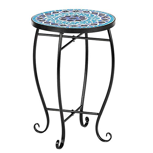 VINGLI Mosaic Accent Table, 14' Round Side Table,End Table, Plant Stand Decor for Patio Porch Beach Theme Balcony Back Deck Pool Indoor Outdoor Coffee, Metal Cobalt Glass Top Black Iron(Blue Ocean)