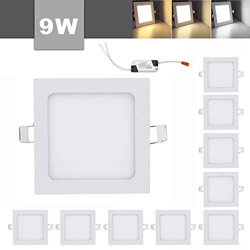 10x LED Panel Lichtfarbe Einaustrahler Deckenstrahler Ultraslim Farbwechsel 3 in 1 Dimmbar (Quadratisches, 9W)