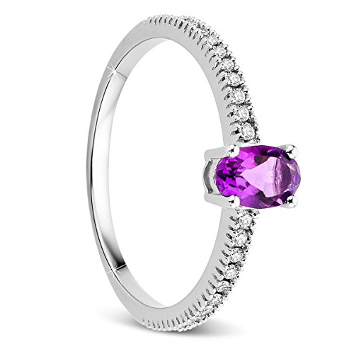 Orovi Damen Weißgold Verlobungsring Diamanten mit Amethyst Solitärring Diamantring 9 Karat (375) Brillianten 0.20crt Amethyst 0.41 crt