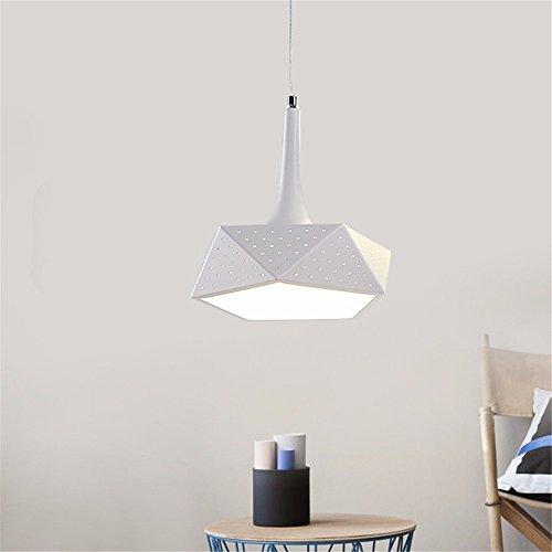 WoOnew - Lámpara de techo con forma de diamante para restaurante o bar, color blanco