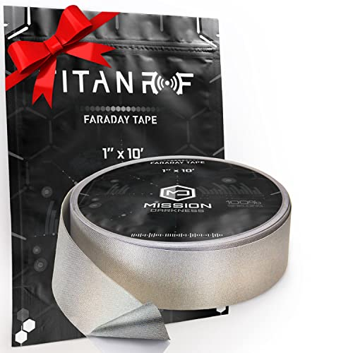 """TitanRF Faraday Tape - High-Shielding Conductive Adhesive Tape // Used to Connect TitanRF Fabric Sheets or Seal RF Enclosures // 1"""" W x 120"""" L (2.54cm x 3.05m)"""