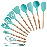 YKUVDE Kitchen Cookware 11-Piece, Silicone Cooking Kitchen Utensils Set, Wooden Handles Cooking Tool Tongs Spatula Spoon Kitchen Gadgets Set for Nonstick Cookware