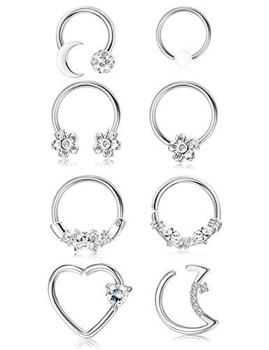 ORAZIO Silver Tone Daith Earrings 16G Stainless Steel Cartilage Tragus Helix Rook Ear Lip Septum Piercing Body Jewelry