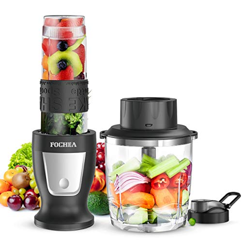 Mixer Smoothie Maker, FOCHEA Standmixer, 300 Watt Mini Smoothie Mixer, 2 in 1 Multifunktion Smoothiemaker + Fleisch Zerkleinerer/Ice Crusher, 24000U/Min mit 570ml Sport-Flasche BPA frei Tritan