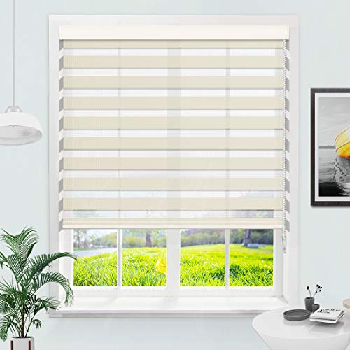 MiLin Window Blinds Zebra Blinds Dual Layer Roller Shades, Fast Delivery Custom Cut to Any Size 12-98 Wide and Maximum Height 118 inch - Antique White