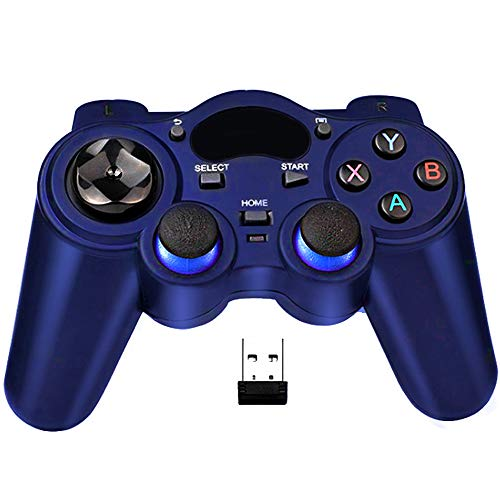 USB Wireless Gaming Controller Gamepad for PC/Laptop Computer(Windows XP/7/8/10) & PS3 & Android & Steam (Blue)