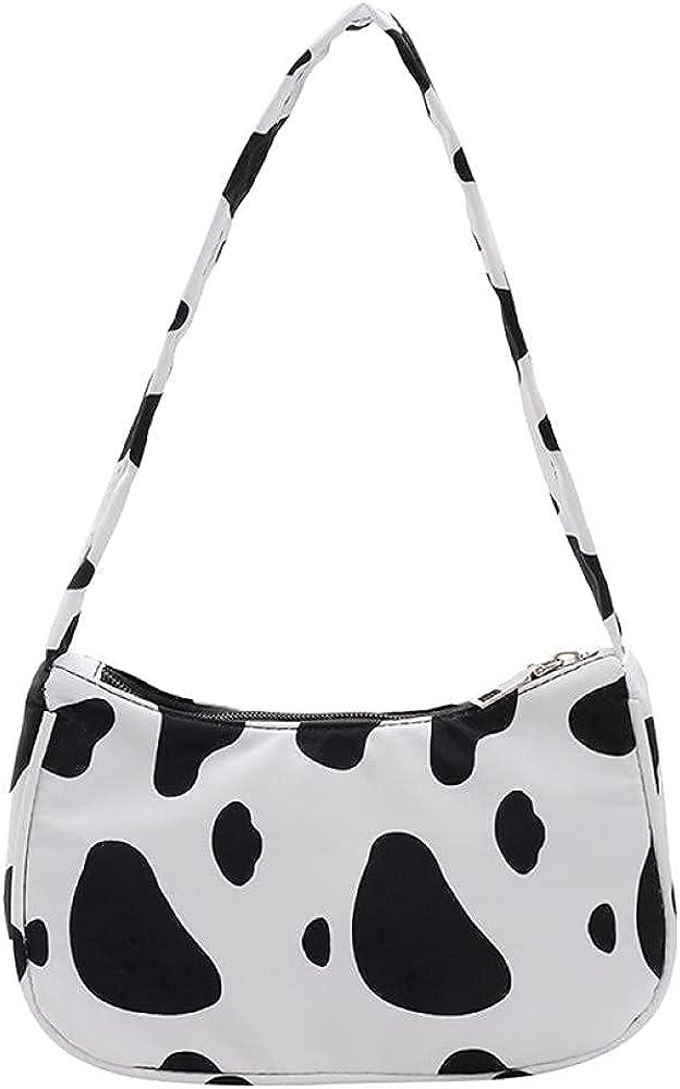 Lovely Cow Printed Crossbody Bag Shoulder Bag Fashion Clutch Handbag Tote Bag for Women Girls-Black zebra chain