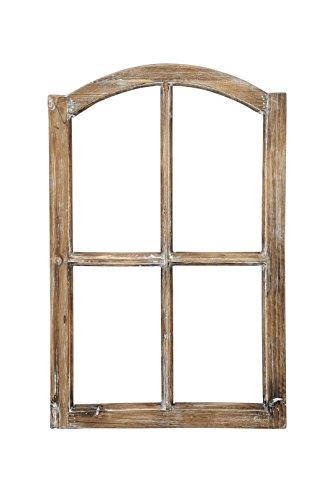 Posiwio Deko-Fensterrahmen Holz- Rahmen Fenster-Attrappe Holz Natur braun Shabby gewischt Vintage