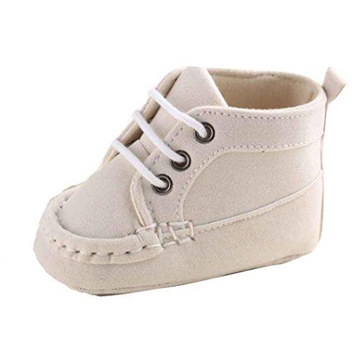 kingko® Bébé fille Garçons Bandage Chaussures Sneaker anti-dérapant souple Sole Toddler (12~18 Mois, beige)