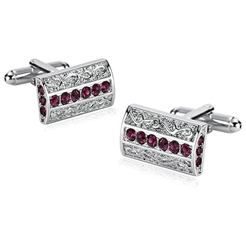 KnSam Acciaio Inox Gemelli per Uomo Modello Rettangolo CZ Rosso Rosa Cufflinks