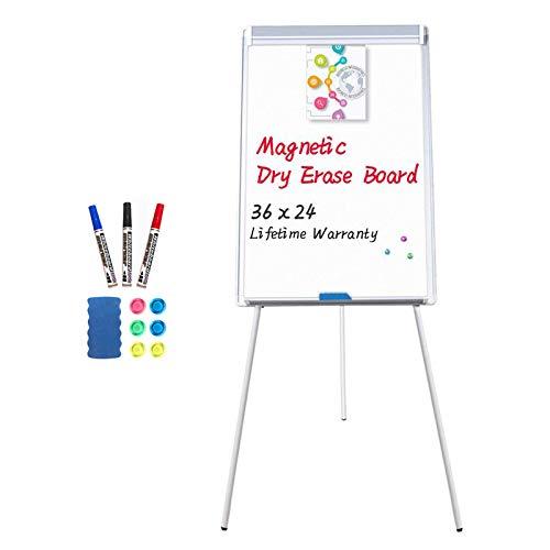 maxtek Easel White Board - Magnetic Tripod Whiteboard Portable Dry Erase Board 36x24 inches Flipchart Easel Board Height Adjustable, Stand White Board
