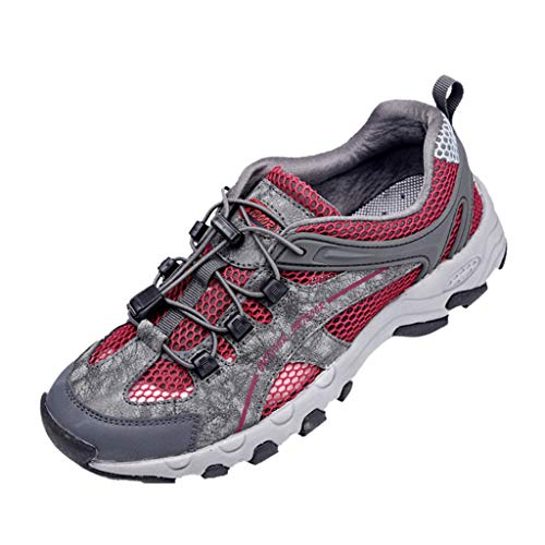 Hiking Shoes Men Casual Summer Breathable Lightweight Off-Road Sneaker Walking Trekking Training Shoes (US:9.5, Gray 2)