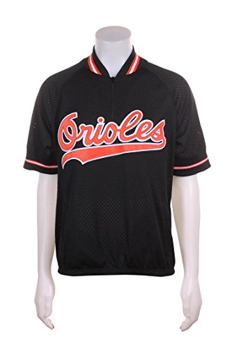 Mitchell & Ness Cal Ripken Jr Baltimore Orioles #8 Men's 1/4 Zip Mesh Batting Practice Jersey (Medium (40)) Black