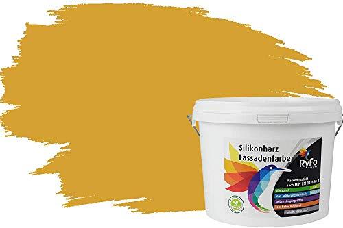RyFo Colors Silikonharz Fassadenfarbe Lotuseffekt Trend Currygelb 3l - bunte Fassadenfarbe, weitere Gelb Farbtöne und Größen erhältlich, Deckkraft Klasse 1