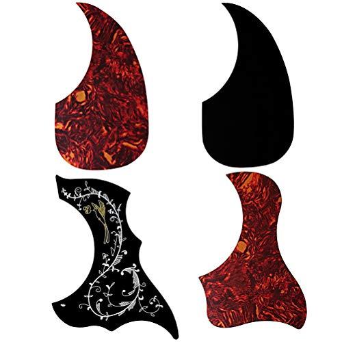 Fashion Road 4Pcs Acoustic Guitar Pickguard, Anti-Scratch Guard Plate Pick Guards, Droplets Bird Pattern Self Adhesive Guard Plate