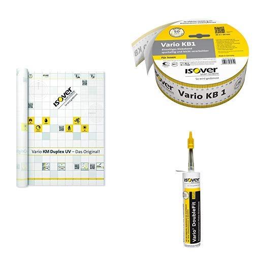 ISOVER Vario Dampfbremssystempaket 1 für 75 m² Fläche:Bestehend aus 1 x Vario KM Duplex UV 1,5 mx50 m, 2x Vario KB1 Klebeband 60 mmx30 m und 6x Vario DoubleFit Klebe-Dichtmasse Kartusche mit 310 ml