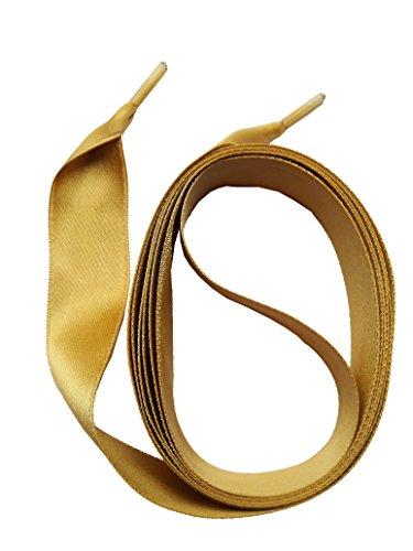 SNORS SATIN breite flache Schnürsenkel GOLD 130cm, 16mm – sehr reißfest, waschbar, bügelbar, edler Look, Satinsenkel - TOP Qualität 100% MADE IN GERMANY - ÖkoTex Verzicht auf unnötige Verpackung