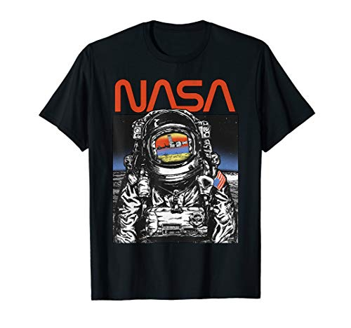 NASA Vintage Astronaut Moon Walk Reflection Graphic T-Shirt