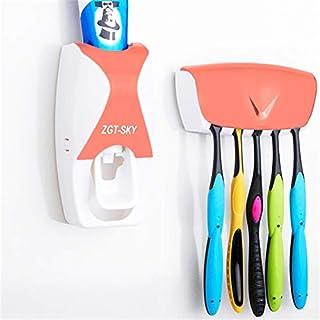 シンプルライフ、ライフアシスタント 5つの歯ブラシホルダー(ブラック)が付いている良質の自動歯磨き粉ディスペンサーセット (色 : オレンジ)