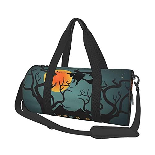 Bolsa de deporte de gimnasio, ligera, potable, bolsa de lona para el hombro, bolsas de lona espeluznante para Halloween, cielo nocturno y bruja voladora, bolsa de viaje multifunción, bolsa de gimnasio