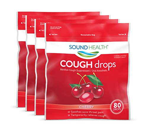 SoundHealth Cough Drops, Cough Suppressant Throat Lozenge, Cherry Flavor, 80 Count Bag (Pack of 4)