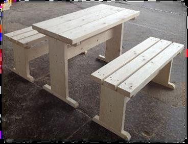 JUNIT SG-GK-1M Sitzgruppe 1m Tisch + zwei Bänke für die großen Grillkotas und Holzhütten oder Garten