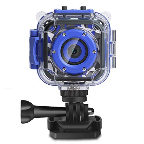 PROGRACE Children Kids Camera Waterproof Digital Video HD Action Camera 1080P Sports Camera Camcorder DV for Boys Birthday Learn Camera Toy 1.77'' LCD Screen (Navy Blue)